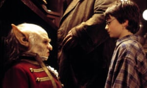 Troyer, left, as Griphook in Harry Potter and the Philosopher's Stone.