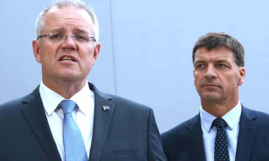 Scott Morrison with the energy minister Angus Taylor.