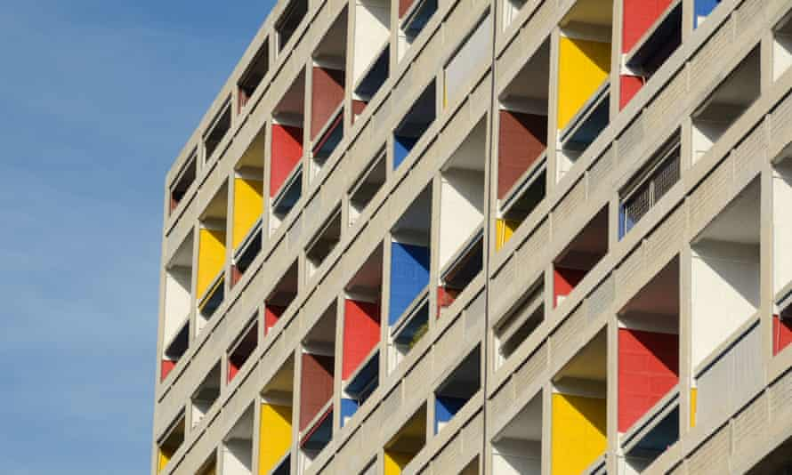 Colourful balconies of the Cite Radieuse, Marseille, one of Le Corbusier's Unité d'habitation projects