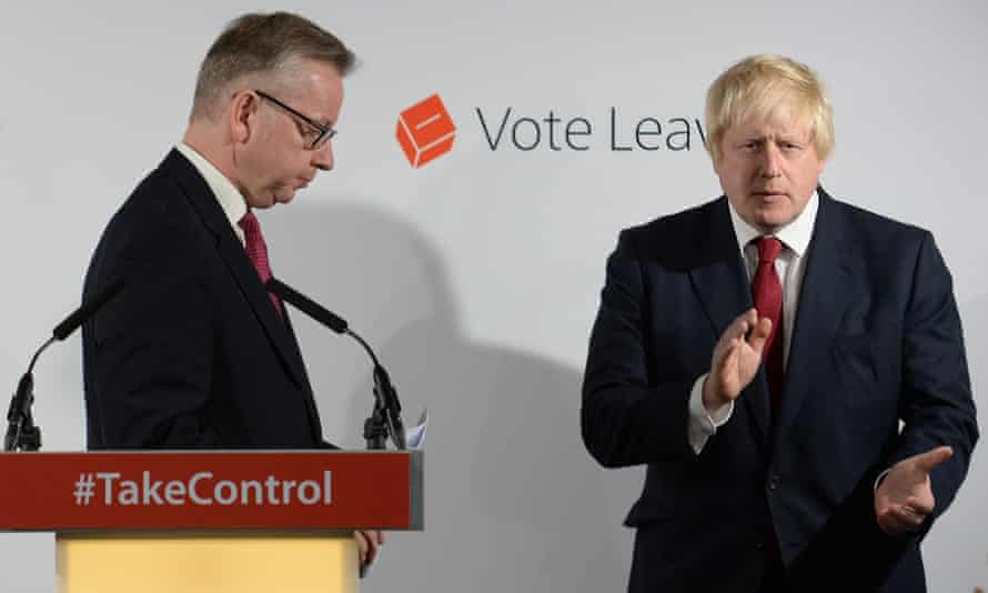 Michael Gove and Boris Johnson at a Vote Leave press conference after the EU referendum.