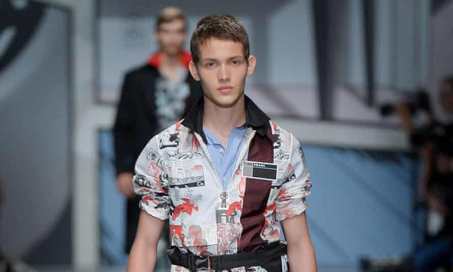 A Prada shirt decorated with the cartoonish graphics that were also on the walls of the catwalk space.