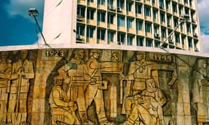 Mural in front of Dimitrovgrad city hall that glorifies the advent of communism in Bulgaria.