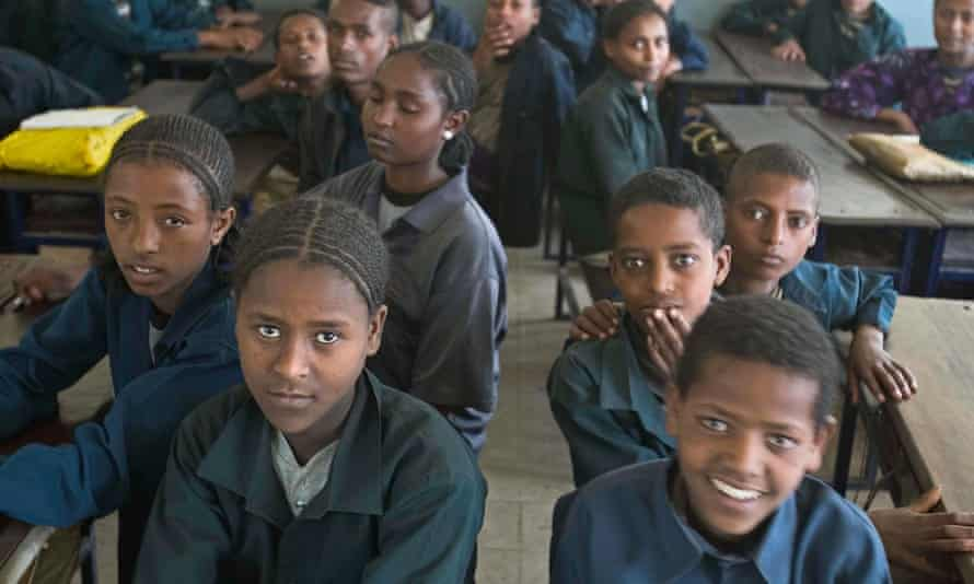 Schoolchildren in class in Ethiopia.