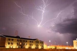 'Anvil crawler' lightning during a thunderstorm in Lincoln, Nebraska, US