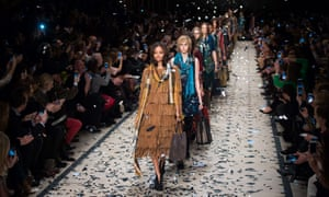 Models at the Burberry Prorsum autumn/winter collection during London Fashion Week 2015