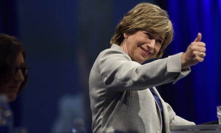 Randi Weingarten, the president of the American Federation of Teachers, speaks to the audience at the annual convention on Friday.