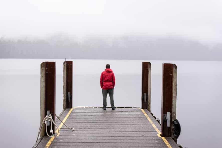 The ferry dock at Lake St Clair, in Tasmania, on a misty day.