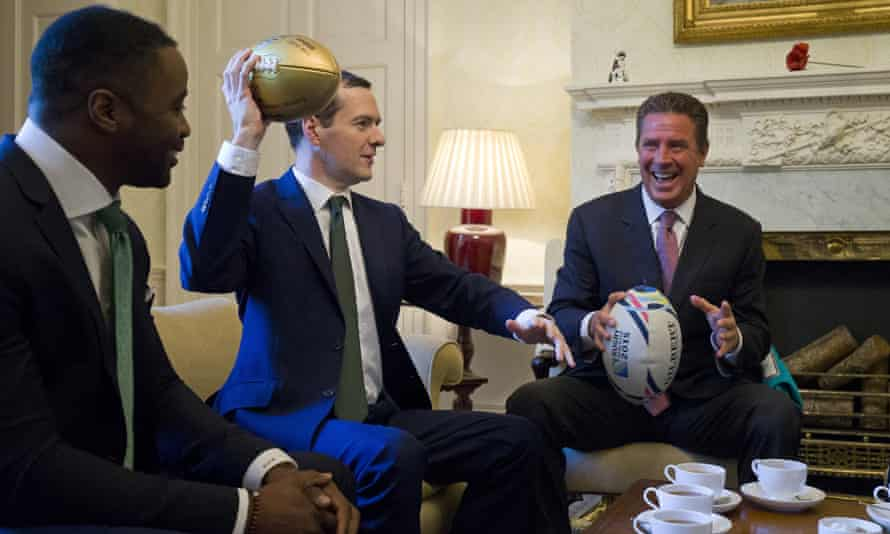 Osborne and guests exchanged a Rugby World Cup 2015 ball for a gold NFL Super Bowl 50 ball.