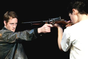 Peter McDonald and Elaine Cassidy in The Lieutenant of Inishmore at the Garrick, London, in 2002.