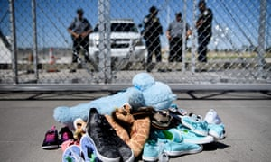 Shoes and toys left behind by children separated from their parents at the Tornillo port of entry, Texas.
