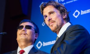 Chinese dissident Chen Guangcheng and actor Christian Bale.