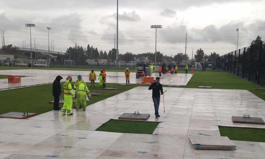 NFL work begins at the Santa Clara youth soccer park.