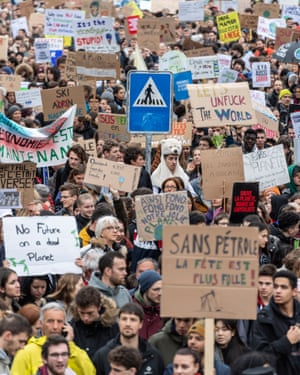 Thousands of students demonstrate during a climate protest in Lausanne, Switzerland.