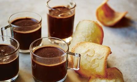 Chocolate pots with tejas de Tolosa