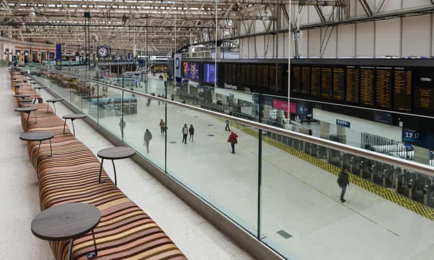 An unusually quiet Waterloo train station in London