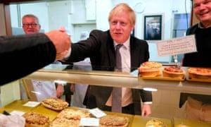 Boris Johnson visiting a bakery in Wells, Somerset