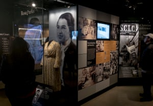 The Rosa Parks display at The National Museum of African American History and Culture in Washington, D.C. Rosa Parks was riding on a city bus in Montgomery, Alabama when the driver ordered her to move to the segregated black seats at the back. She was about to do as told, but then the image of Emmett's brutalised body came back to her and she refused.