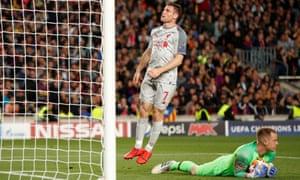 Barcelona's Marc-Andre ter Stegen after saving a shot from Liverpool's James Milner.
