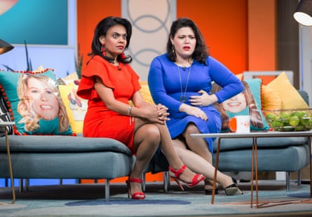 Miranda Tapsell (left) and Nakkiah Lui in Get Krack!n's season 2's finale, for which Tapsell has been nominated for best lead actress and best performance in a television comedy.