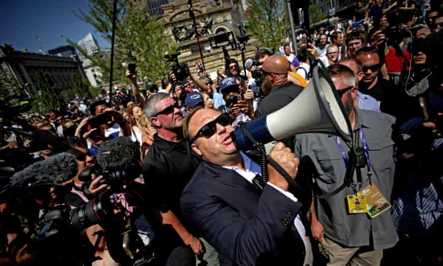 Alex Jones speaks to a Republican Convention in Cleveland, Ohio. YouTube has banned Jones's videos from its site.