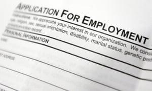 A job application form