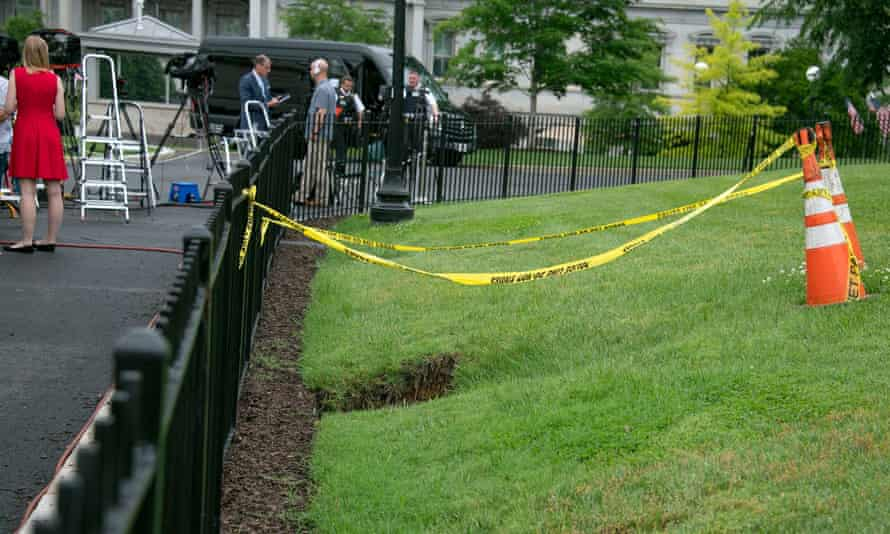The sinkhole in the lawn of the White House.