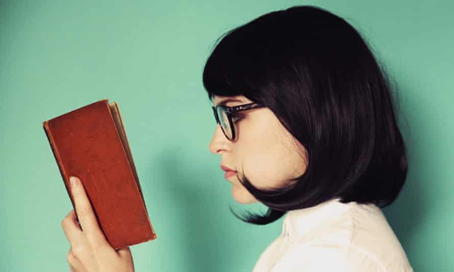 woman book green
