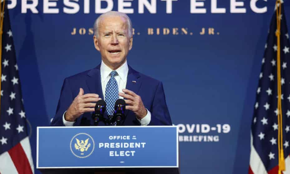 Biden in Delaware on Monday. This bitterly polarised and hyperpartisan Washington looks very different from the clubby Senate he joined in 1973.