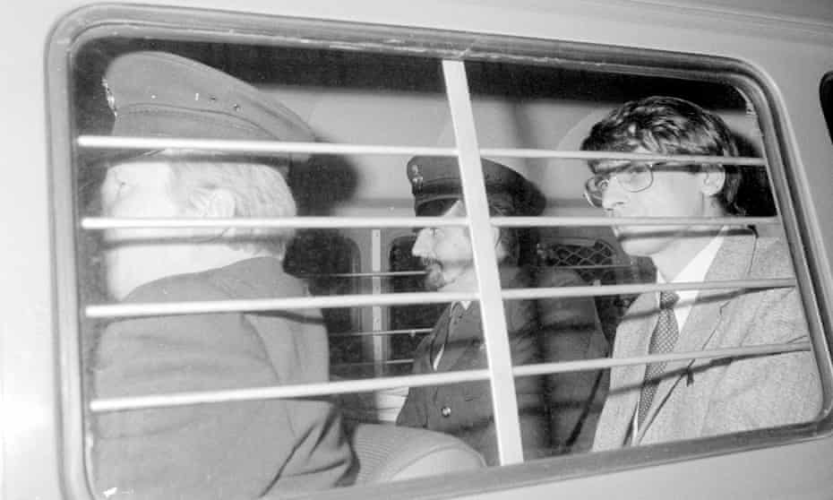 Mass murderer Dennis Nilsen is driven away after being sentenced to a minimum of 25 years in jail in 1983.