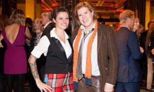 Jack Monroe after winning best food blog at the Observer Food Awards in 2014, with then partner Allegra Mcevedy.