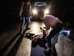 Part of the attack on Ihsane Jarfi in 2012, as staged in La Reprise at the Lyceum.