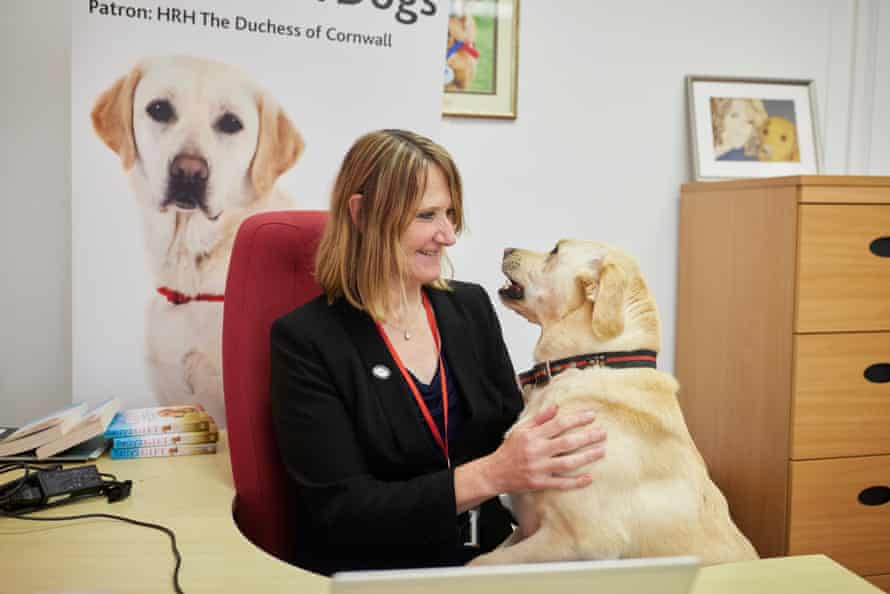 Dr Claire Guest, CEO of Medical Detection Dogs with her dog Tala, 3, a medical detection dog.