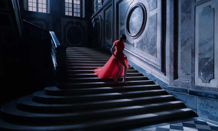 A still from Dior's short film for Paris fashion week, shot at the Palace of Versailles.