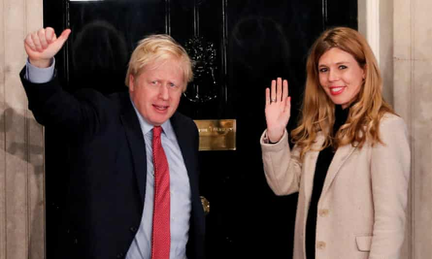 Boris Johnson and Carrie Symonds arriving at No 10 on the morning after the general election in December.