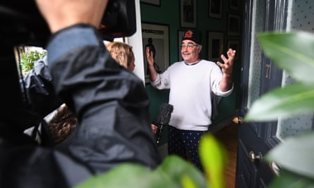 Danny Baker speaks to journalists at his London home.