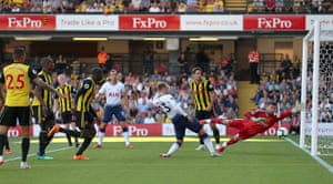 Watford's Abdoulaye Doucoure scores an own goal giving Tottenham Hotspur their first goal of the game.