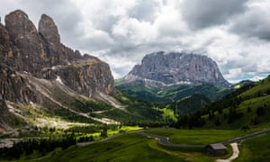 A view of a road in the Dolomites.