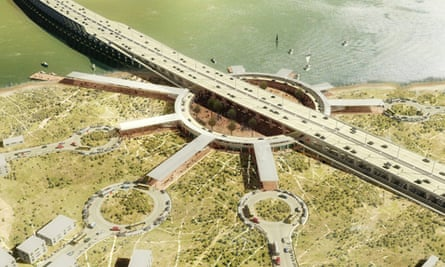 Rendering of Kunlé Adeyemi and Rem Koolhaas's proposal for the Fourth Mainland Bridge in Lagos, Nigeria.