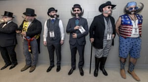 Contestants in the Imperial division queue up at the 2017 World Beard and Moustache Championships, Austin, Texas