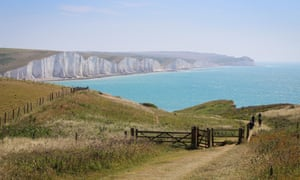 A view across Cuckmere to the Seven Sisters cliffs, South Downs national park, East Sussex