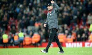 Jürgen Klopp acknowledges the Anfield crowd after Liverpool's latest Premier League win against West Ham