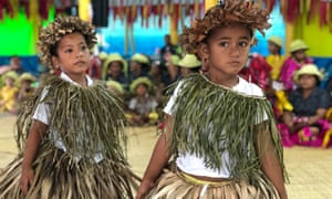 Tuvaluan children sing a welcome for Pacific leaders