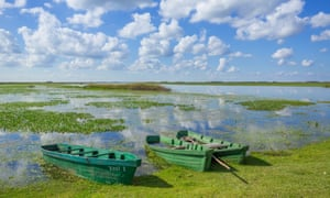 Boats amid the Iberá wetlands, Argentina,