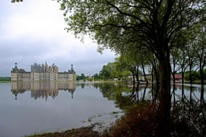 Chateau de Chambord seen across floodwaters in the Loire Valley.