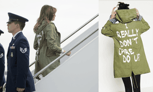 Melania Trump was seen wearing a green military jacket with the a message on the back