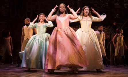 The Schuyler sisters … Rachelle Ann Go (Eliza), Rachel John (Angelica) and Christine Allado (Peggy).