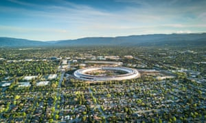 An aerial photo of Cupertino, showing Apple's new campus.