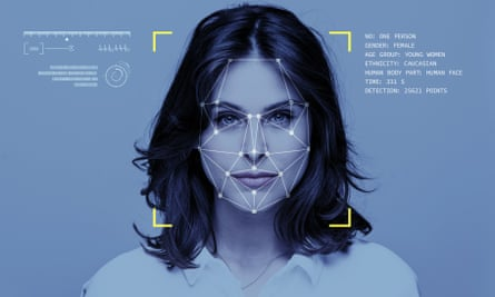 Facial recognition technology on woman
