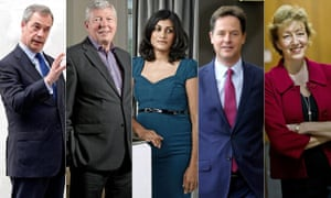 From left: Nigel Farage, Alan Johnson, Anushka Asthana, Nick Clegg and Andrea Leadsom
