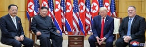 Trump meets with Kim Jong-un, Mike Pompeo and North Korean foreign minister, Ri Yong-ho at the demilitarised zone.